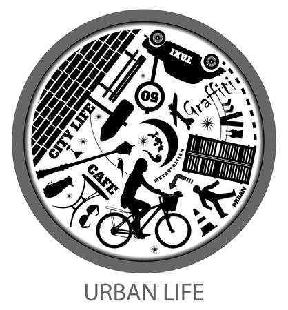 rush hour: Circle of urban life in rush hour Illustration