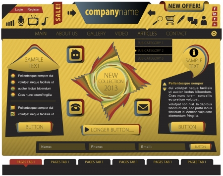 Yellow website template with a special look with graphic elements Illustration