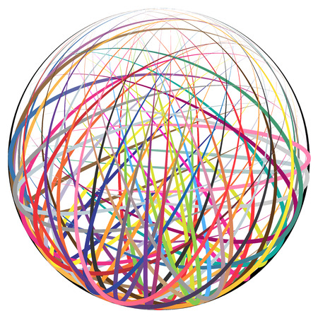 Complex ball made of many colorful curved strings Illustration