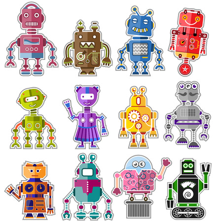 Set of twelve colorful and cute robots Illustration