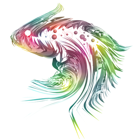 Beautiful exotic and artistic fish illustration on white background