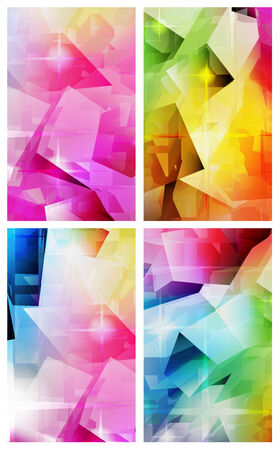 Set of four vertical colorful abstract backgrounds