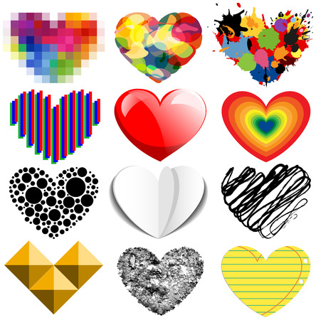 Set of twelve vector colorful and special hearts Vector