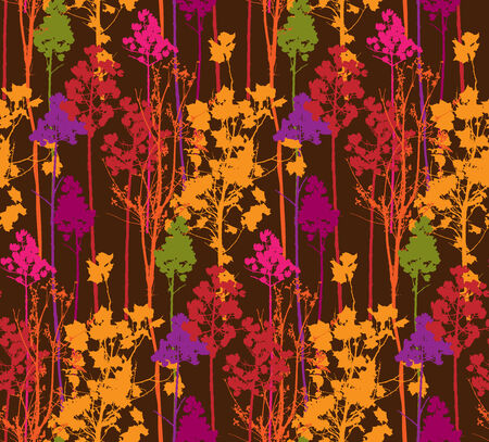 Seamless pattern with isolated colorful trees on brown background