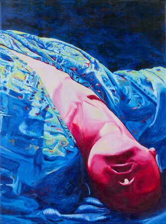 lie down: Acrylic painting of woman lie down upside down in duotones colors Stock Photo