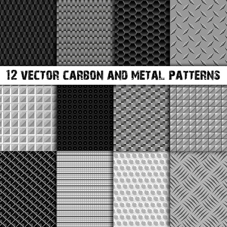Set of 12 carbon and metal seamless pattern in black and white