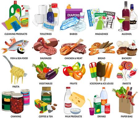 abarrotes: Conjunto de sesenta iconos de cuatro supermercados