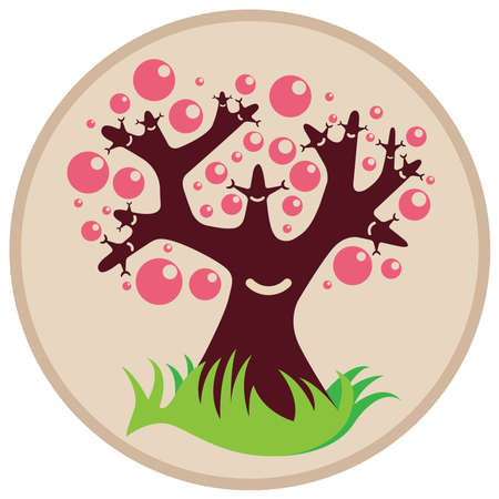 Smiling tree with pink bubbles and grass in circle shape