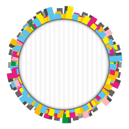 Round colorful frame made of many small rectangles with a little shadow inside the circle Vector