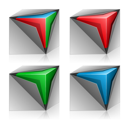 Cube inside box. Set of four vector grey boxes in red green and blue colors Illustration