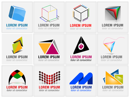 Set of twelve abstract icons for business branding business cards and identity in vector format Illustration