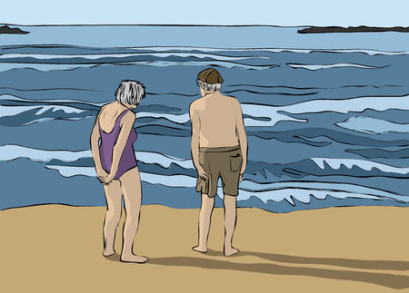Elderly couple standing in front of the beach and looking at the horizon Stock Illustratie
