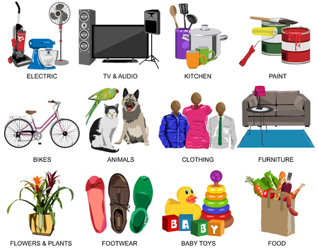 Set of thirty one colorful icons for Department store divided to twelve subjects in vector format