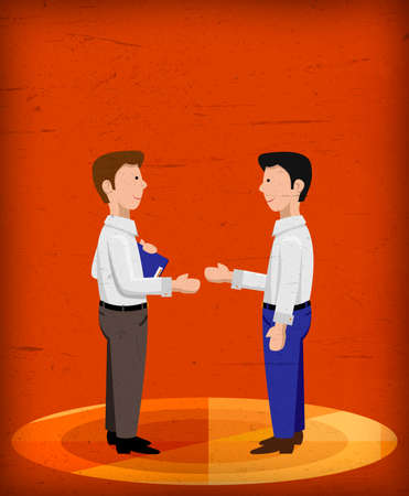 man customer support: Business men shaking hands good for loan contract, customer service, salesman with orange background Stock Photo