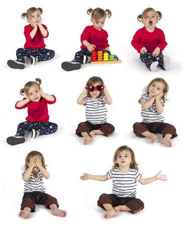 Set of baby girl sitting and making gestures in eight positions isolated on white background Stock Photo