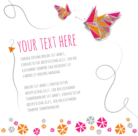 greeting card background: Two butterflies flying around text. Flowers blooming at the bottom - Invitation or greeting card background