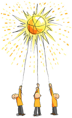 conquer: Three people catch the sun with ropes  Energy concept  Great for saving energy concept or ambitiousness teamwork concept Illustration