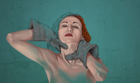 Artistic painting of woman choke herself with gloves on turquoise background