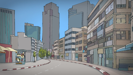 Colorful drawing of street with buildings   Sketch of RamatGan city space  Israel