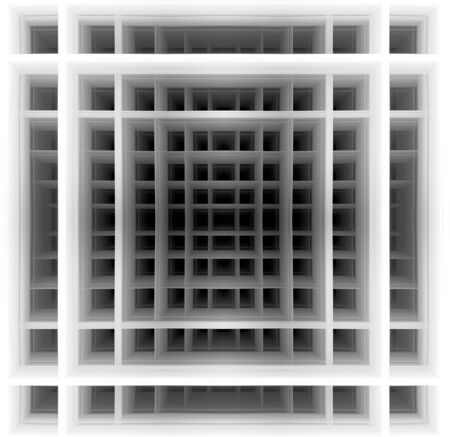 three dimensional background: Three dimensional background made of black and white squares which create hypnotic  illusion of deep tunnel