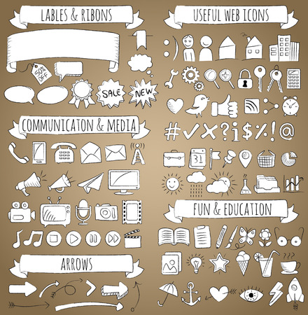 Doodle Icons set with white fill and black chalk outline separated to different categories