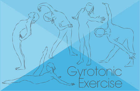 man working out: Gyrotonic exercises - Woman silouettes drawings with light and fine lines Illustration