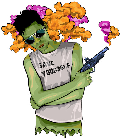 watch out: Punk Rock boy holding a gun with pink and orange smoke - Zombie illustration