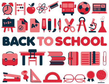 vector studies: Back to School - Vector Icons collection in red and dark blue colors set