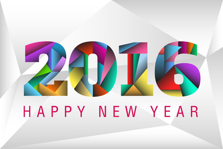 Happy New Year 2016 with happy colorful triangles background
