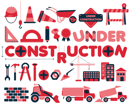 industrial construction: Under construction vector icons set with rounded corners in red and blue colors