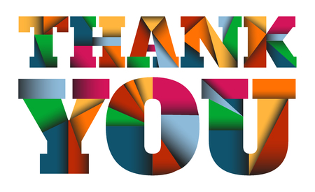 thanks: THANK YOU - Colorful vector letters design with triangles shapes