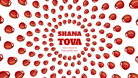new year's: SHANA TOVA - Greeting card for inspiring and sweet new year Illustration