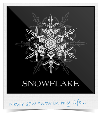Elegant vector snowflake on black background framing inside Polaroid photo with text at the bottom