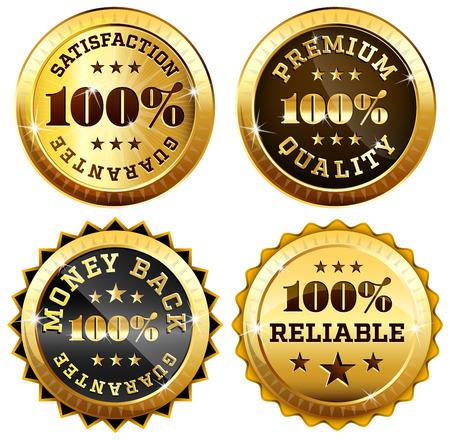 sellos: Conjunto de 4 juntas de negocios en oro y negro - 100 garantía de satisfacción, de devolución de dinero, calidad y fiabilidad etiquetas premium