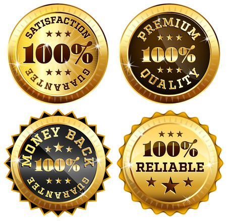 Set of 4 business seals in gold and black - 100 satisfaction guarantee, Money back, Premium quality and reliability labels