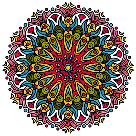 Beautiful Mandala Hindu symbol with colorful geometric shapes in vector format Ilustração