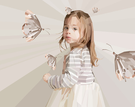 petite: Beautiful little girl looking backward with butterflies around her made out of polygons shapes on triangles soft background
