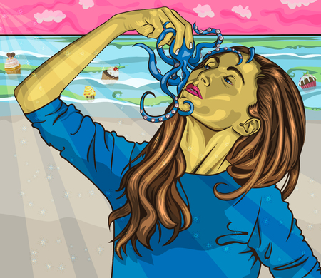 Passion for seafood VS Sweets - Woman holding blue Octopus on background of a sea full of cupcakes in vector format