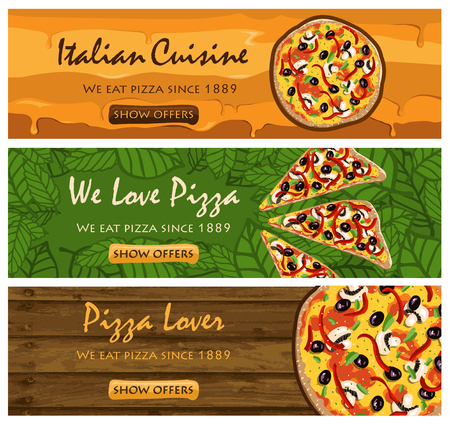 melted cheese: Pizza banners set - There banners set of PIZZA restaurant in vector format Illustration