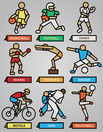 one people: Set one includes nine icons of people doing sport in vector format Illustration
