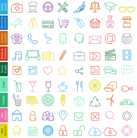 folder icon: Web icons set for business - Trendy illustration, fine line with soft colors in vector format Illustration