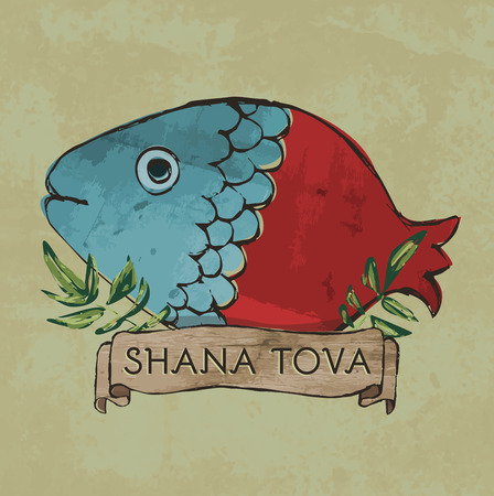 retro postcard: Shana Tova postcard design - Retro style - Half fish half pomegranate with leaves and sign on textured background in vector format Illustration