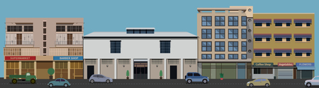 modern illustration: Raw of Buildings front view from the street with road and cars in vector format