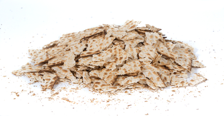 Pieces of broken matza - Traditional kosher bread for Passover Stock Photo