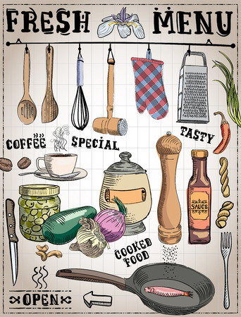 Kitchen tools, food ingredients with captions in handmade, vintage illustration in vector format