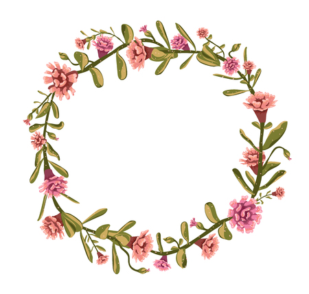 Floral design - Bouquet in shape of a circle made of illustrated fine flowers in vector format