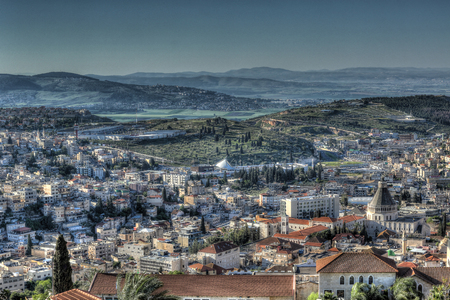 Top view of the old city - Nazareth - with blue mountains in the background - Located in the north of Israel Stock Photo