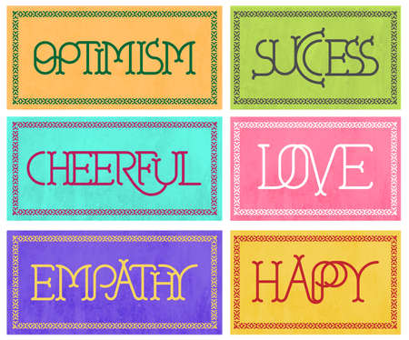 6 signs with optimistic, happy decorative letters and ornamental border in pastel colors - Vector format Illustration