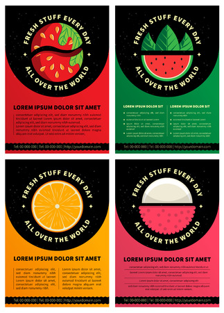 Set of four graphic design brochure templates with Fresh fruits icons and copy space area in vector format