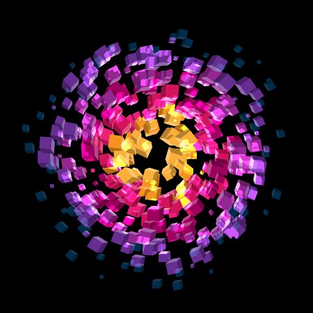 Abstract colorful cubes atmosphere spinning on black background in vector format